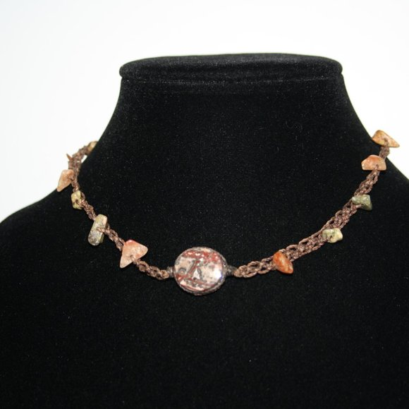 """Beautiful brown and natural stone necklace 15"""""""